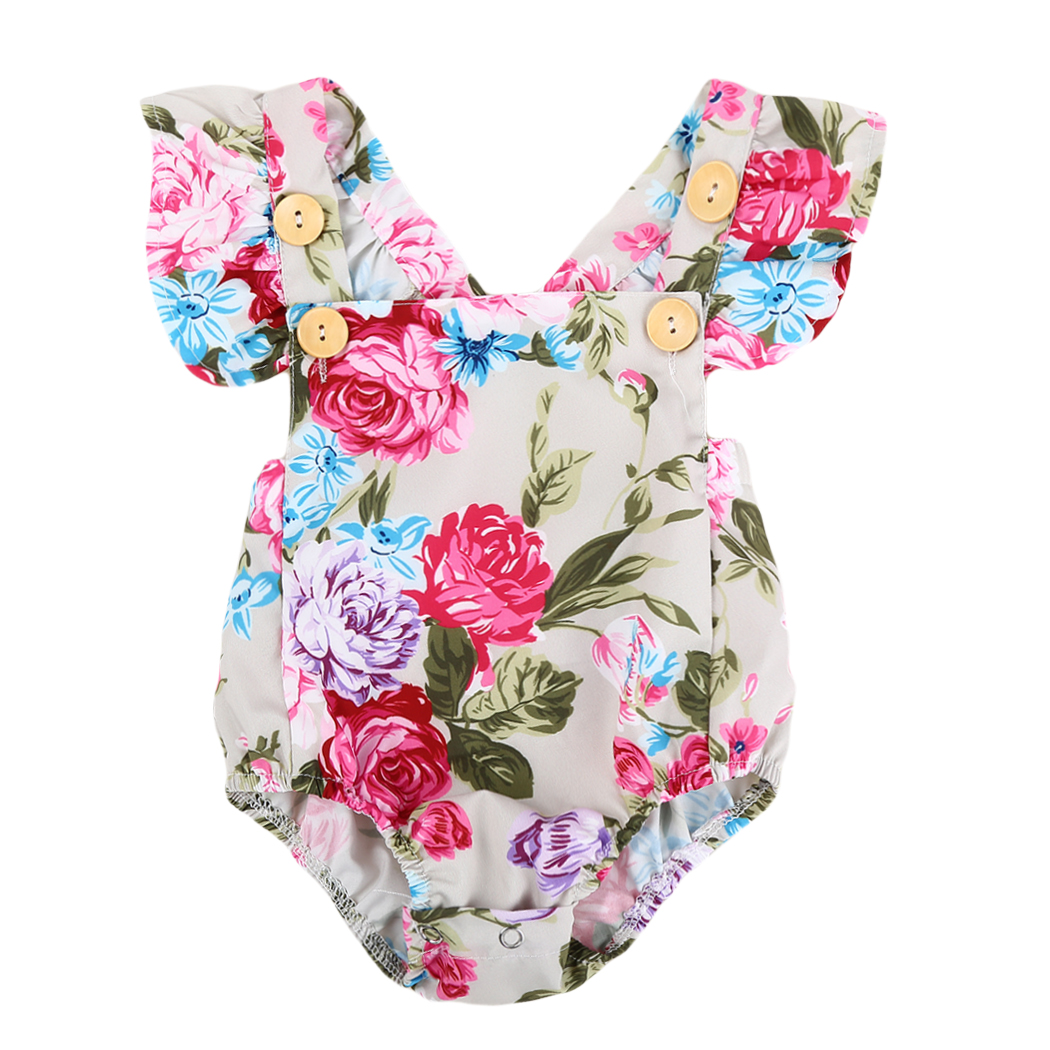 2018 New Baby Girls Clothes Summer Flower Baby Girls Bodysuit Newborn Infant Toddle Bebes One-Pieces Body Suit Costume 0-18M