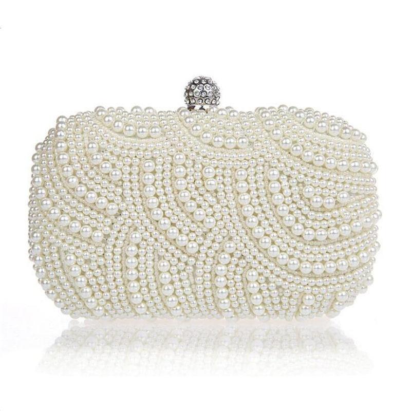 100% Handmade Full Beaded Evening Bag Women Chain Clutch Bag Wedding Bride Bridesmaids Hand Bag Mini Chain Purses Handbags