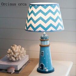 Śródziemnomorski niebieski latarnia lampa stołowa pokój dziecięcy chłopiec lampka nocna do sypialni kreatywny ciepły LED dekoracyjna lampa stołowa