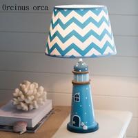 Mediterranean Blue lighthouse table lamp children's room boy bedroom bedside lamp creative warm LED decorative table lamp