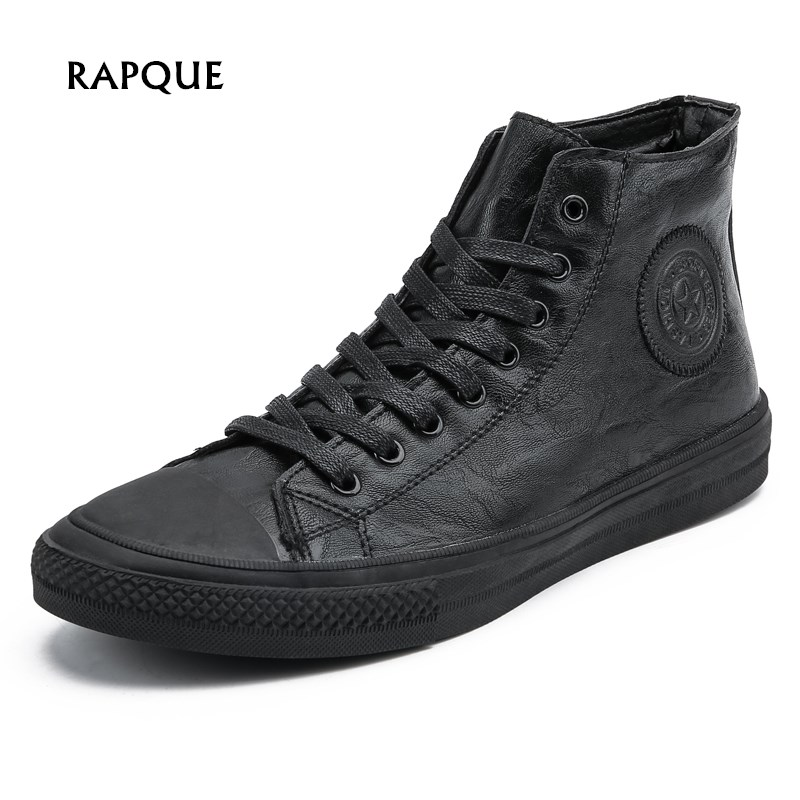 Men Shoes Pu Leather Fashion High Tops Male Boots Luxury Brand Mens Casual Sneakers Waterproof Lace Up Flats Solid Color Shoes