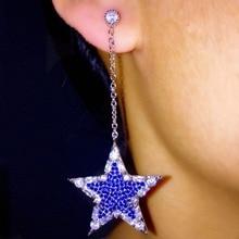 L5.8 * W2.6cm CZ проложили Синий Розовый Камень пятиконечная звезда Подвеска мотаться серьги для женщин brincos длинными ушами аксессуары