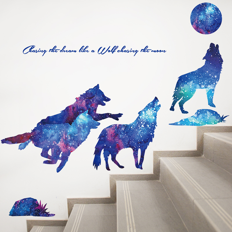 Moonlight Wolves Wall Stickers PVC Material DIY Wall Decals for Kids Rooms Living Room Home Decoration murals