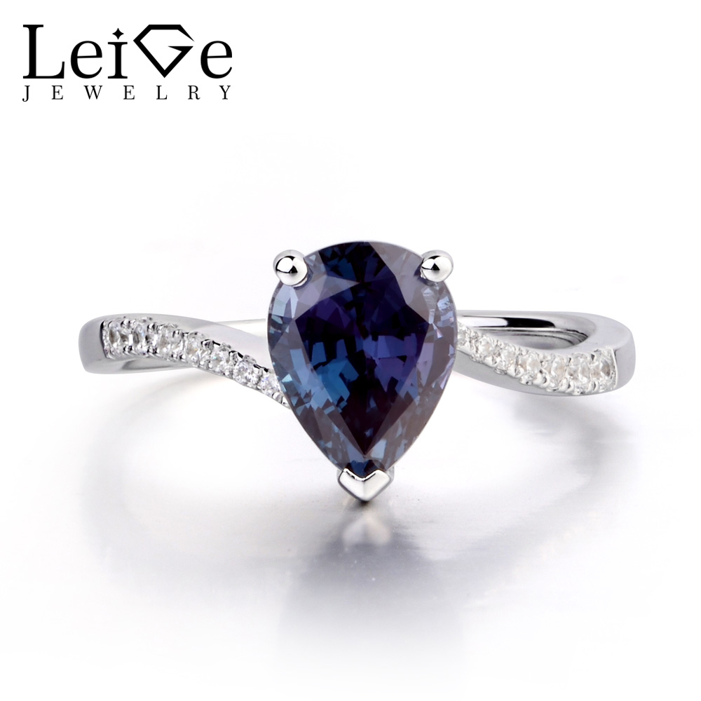 Leige Jewelry Pear Shaped Engagement Rings for Women Lab Alexandrite Promise Ring Sterling Silver 925 Fine Jewelry Pear Gemstone leige jewelry pear shaped engagement rings for women lab alexandrite promise ring sterling silver 925 fine jewelry pear gemstone