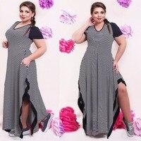 Big Size 6XL 2016 Fat MM Woman Dress Summer Casual Black And White Stripe Split Dresses