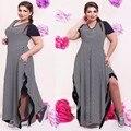 Большой размер 6XL 2016 Жира ММ Женщины Летнее платье повседневный черный и белая полоса сплит платья плюс размер женская одежда 6xl платье