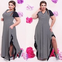 Big Size 6XL 2016 Fat MM Woman Dress Summer Casual Black And White Stripe Split Dresses