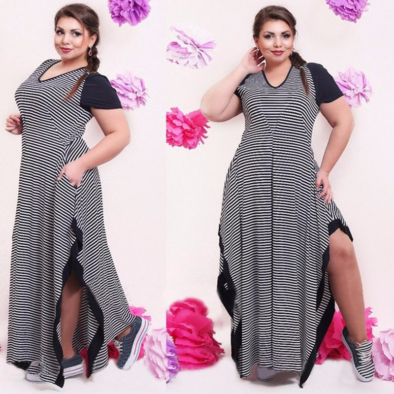 Detail Feedback Questions about Big size 6XL 2018 Fat MM Woman dress Summer  casual black and white stripe split dresses plus size women clothing 6xl  dress ... c917125cf589