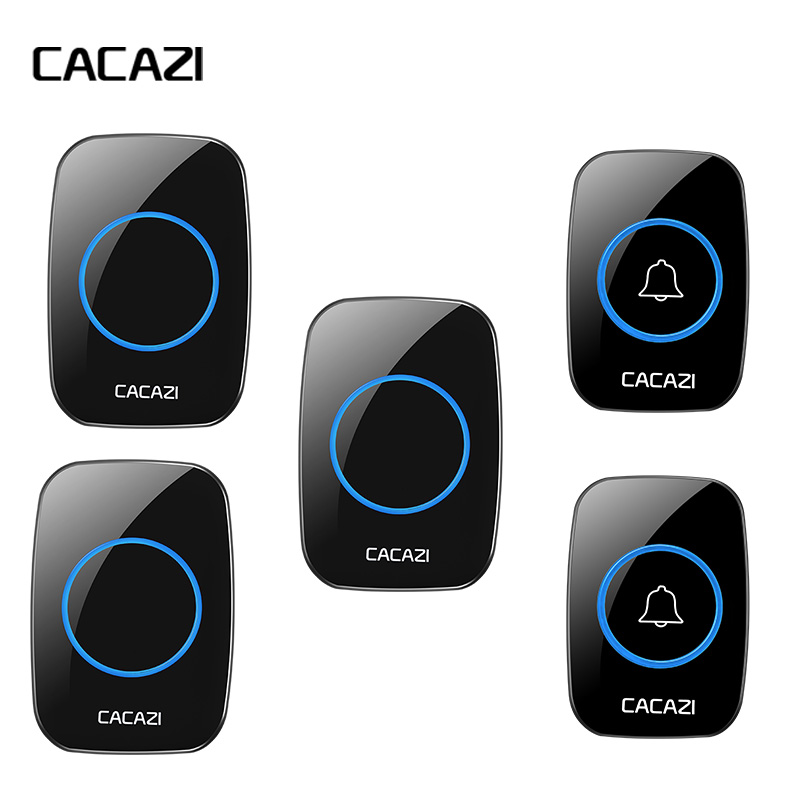 CACAZI AC 100-240V DoorBell Waterproof 300m work range Wireless Door bell 2 transmitters+3 receivers 38 Ring tunes door chime cacazi ac 110 220v wireless doorbell 1 transmitter 6 receivers eu us uk plug 300m remote door bell 3 volume 38 rings door chime