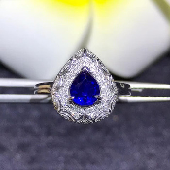 gemstone jewelry factory wholesale classic luxury 18k yellow gold real diamond natural blue sapphire gold ring for women wedding 1
