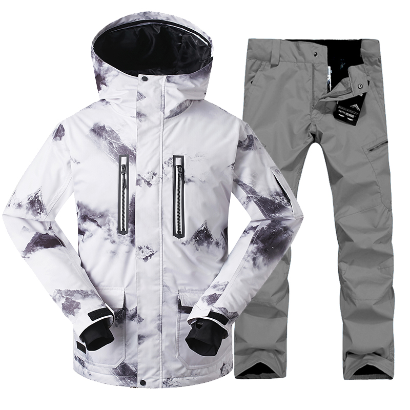 Gsou snow ski suit set male Outdoor skiing suit set Men  thermal waterproof twinset plus size Windproof  jacket and pants sets gsou snow brand ski pants women waterproof high quality multi colors snowboard pants outdoor skiing and snowboarding trousers