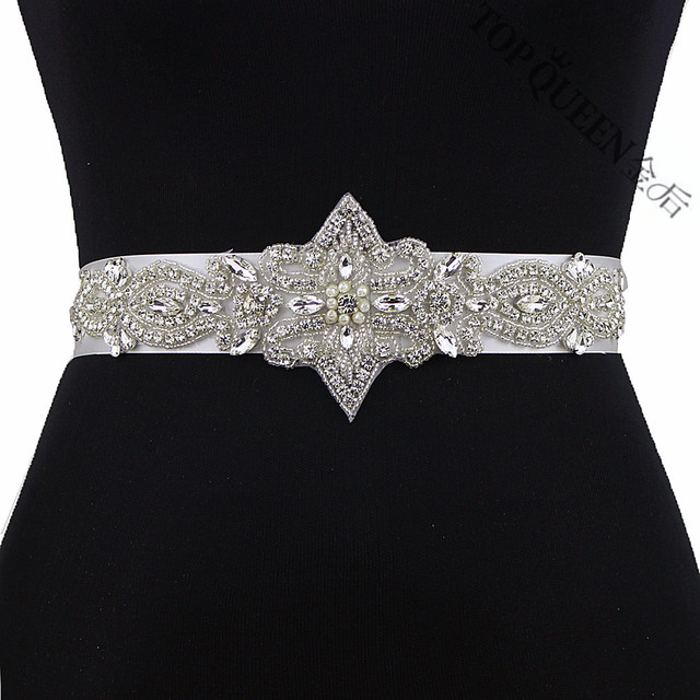 TOPQUEEN S245 Crystal Rhinestone Beading Wedding Bride Bridesmaid Sash Belt For the Wedding Evening Party Bridal Dress