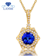 New!!! Oval  Tanzanite Pendant Necklace  Natural Diamond14Kt Yellow Gold Fantastic Wedding Fine Jewelry for Wife Christmas Gift