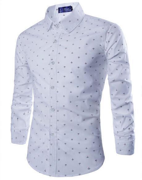 2015 nueva Europa y América del todo-fósforo Para Hombre ancla de impresión camisa de manga larga