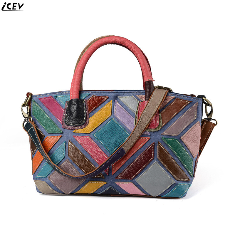 ICEV 2018 new fashion cowhide big tote bag large capacity patchwork genuine leather women handbag famous brands messenger bags new 2018 luxury genuine leather women handbag designer brand famous leather tote big bag fashion high capacity messenger bags