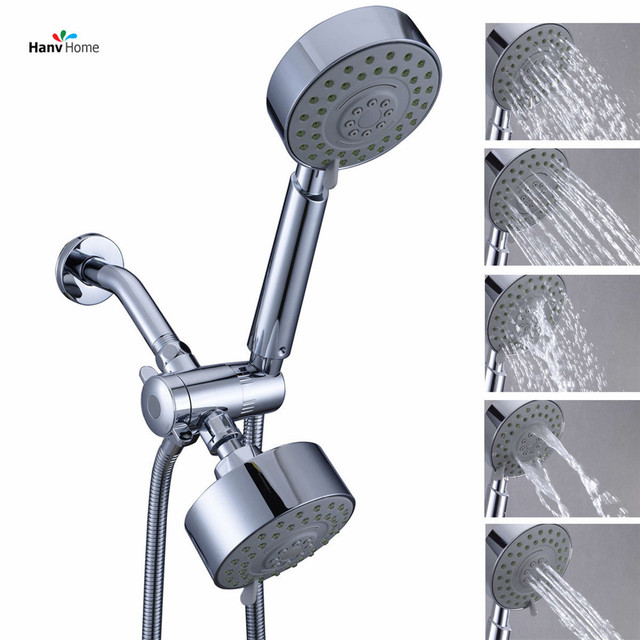 5 Function Chrome HandHeld Shower Head U0026 3 Way Diverter U0026 Shower Arm U0026150cm  Shower Hose