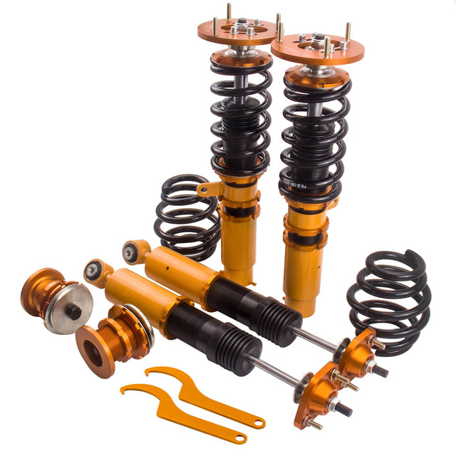 for BMW E46 3 Series 320i 323i 328i 330i M3 Coilover Adj Height Coilovers Shock Top Mounts Camber Plate 98-05 Suspension Spring