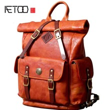 AETOO New mens leather backpack multi-function large retro cowhide shoulder bag