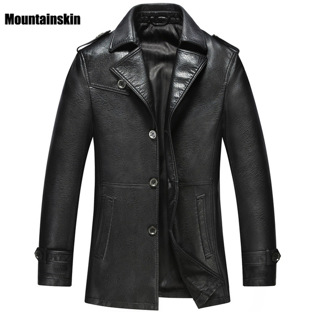 New Autumn Men's Suit Leather Jackets Slim Fits Male Parkas Solid Casual Business PU Leather Coats Fashion Brand Clothing SA132