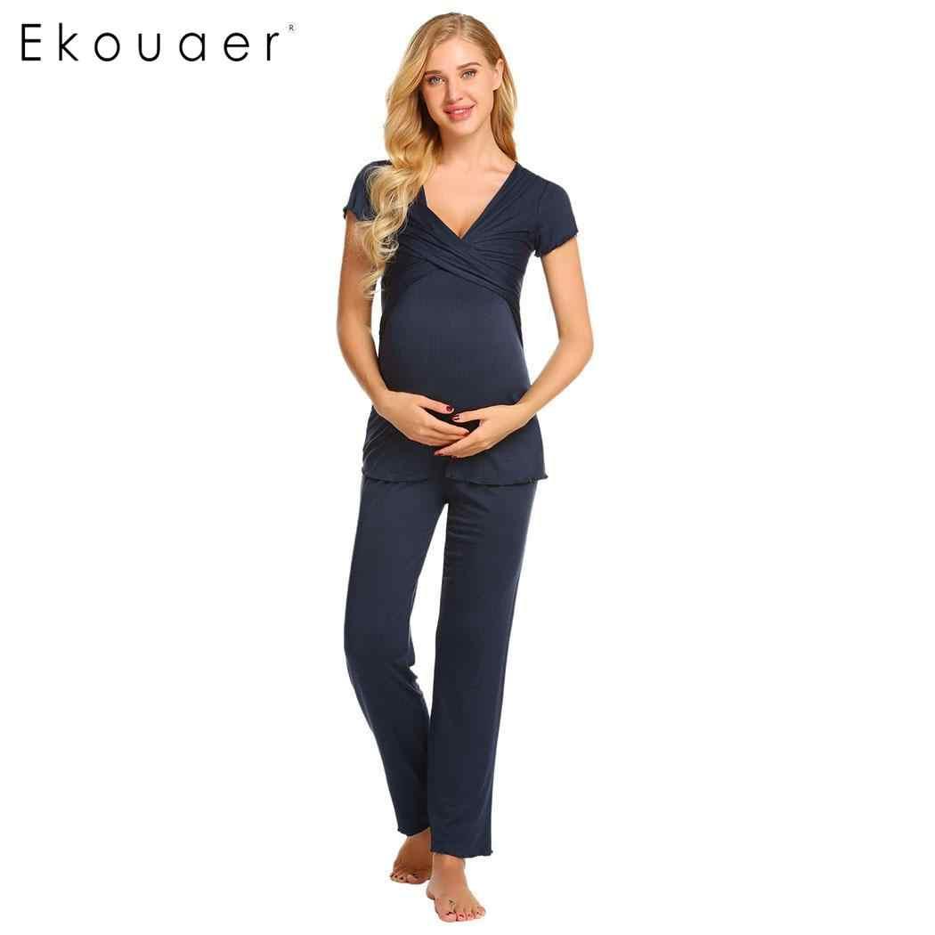 11861e200 ... Ekouaer Women Pajamas Set Nightwear Breastfeeding Nursing Pajama  Maternity Pregnancy Loungewear Sleepwear Set Female Soft Cloth ...