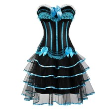 Plus Size Corsets Dress Lolita Style Costumes Vintage Striped Floral Lace Up Corset Bustier For Women lace up striped dress