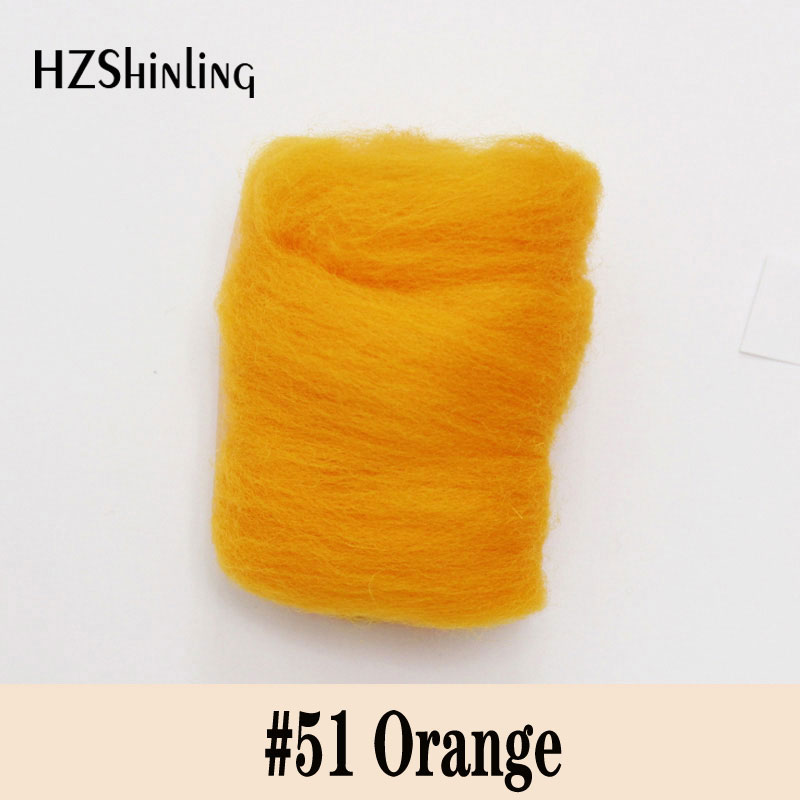 5 G Super Fast Soft Felting Short Fiber Wool Perfect In Needle Felt And Wet Felt Orange Wool Material DIY Handcarf