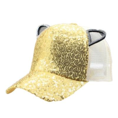 Kids Gift Girl Summer Mesh Cap Sequin Ears Light Baseball Cap Children's Sun Hat Casquette Snapback Hat Parent-Child