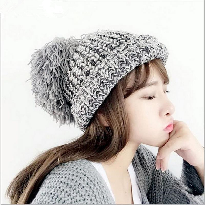 Lowest price free shipping promotion new oversized hair ball knit wool cap blending knitted hat ear warm hat Ms.