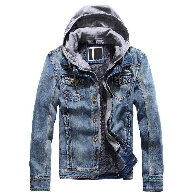 MORUANCLE Fashion Mens Warm Denim Jackets With Hood Fleece Lined Jeans Jacket Coats Hood Detachable Button Closure Thick Thermal