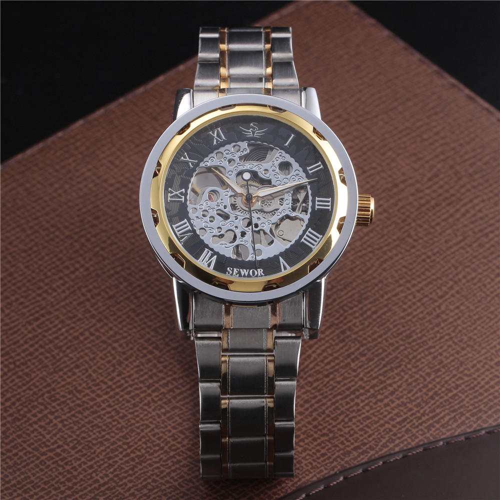 SEWOR Gold Men Skeleton Mechanical Watch Stainess Steel Steel Hand - Relojes para hombres - foto 2