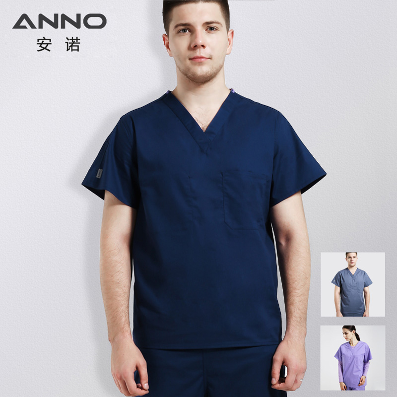 ANNO Cotton Hospital Nursing Uniforms Set Medical Scrubs Suit For Women Men Health And Beauty Care Work Wear Surgical Clothing