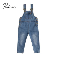 pudcoco 2017 style scorching Girl's Denim Rolled Cuff Jeans Overalls Casual Denim Bib Pants Trousers 2-8Y