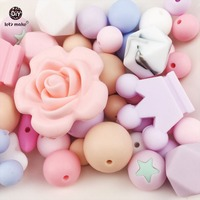 Let's Make Silicone Random Beads 100pc Teething Montessori Toys DIY Crafts Baby Silicone Teether Nursing Necklace Pendant Beads