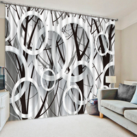 black and white Branch Scenery Photo Printing Blackout 3D Curtains for Living Room Bedding Room Hotel