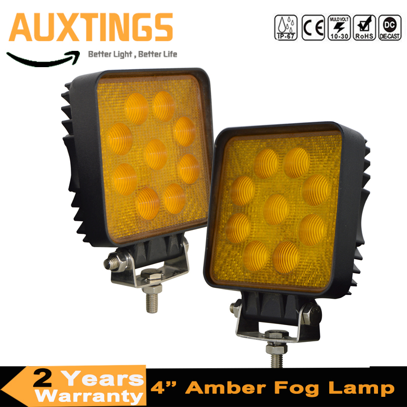 2X 27W Square Led Work Light Flood Amber 5D Off Road Yellow Fog Lamp Bumper Truck Tractor 4x4WD ATV image
