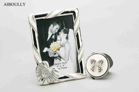 Set Of 2 Of 6 Inch Photo Frame With Crystal Heart Icon And Pocket Mirror With
