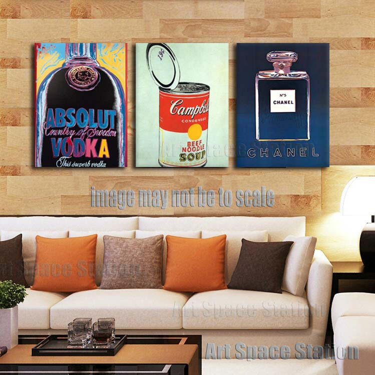 Famous art absolute vodka pop art poster 3 piece wall art painting pictures print on canvas for living room decoration no frame in painting calligraphy