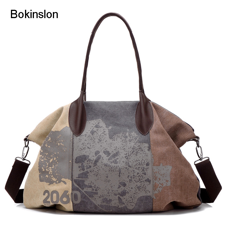 Bokinslon Big Bags For Woman Canvas Retro Women Fashion Shoulder Bags Printing Casual Crossbody Bag Female new woman shoulder bags cute canvas women big bags literature and art cartoon girls small fresh bags casual tote