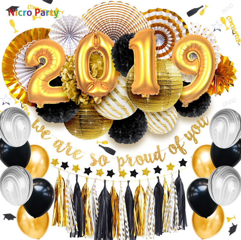 Nicro 49 pcs set Graduation 2019 We Are So Pround of You Gold Black Party Decoration