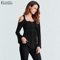 ZANZEA Women Autumn Blouses 2016 Blusas Sexy V Neck Long Sleeve Off Shoulder Lace Up Casual