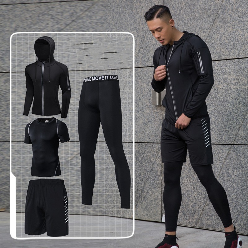 US $45.32 43% OFF|Black Gym Clothing Sportswear For Men Soft Running Clothes For Men Fitness Suit Cap Running Jogging Outdoor Four Piece Coat 3XL in