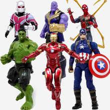 цена 18CM Marvel avengers iron man spider-man captain America hulk Thanos Equivalent 26 species doll Color Box Packaging toy онлайн в 2017 году