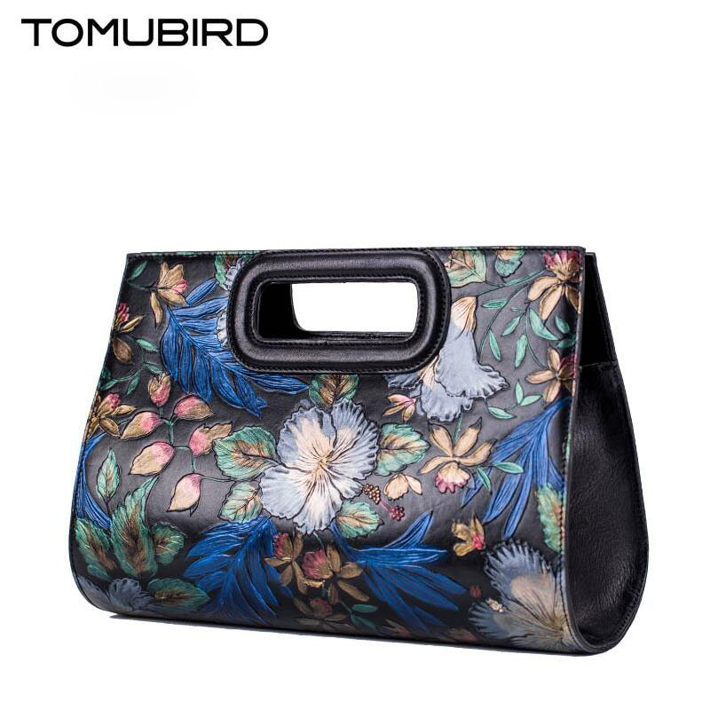 TOMUBIRD new Superior cowhide leather Paintin Embossing famous brand women bag fashion genuine leather handbags Tote boston bag 2018 new superior cowhide leather classic designer hand embossing top leather tote women handbags genuine leather bag medium bag