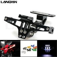Motorcycle Adjustable Angle License Number Plate Frame Holder Bracket For Kawasaki w800/se z750s ZX 6 ZX9R zxr 400 versys 650 cc