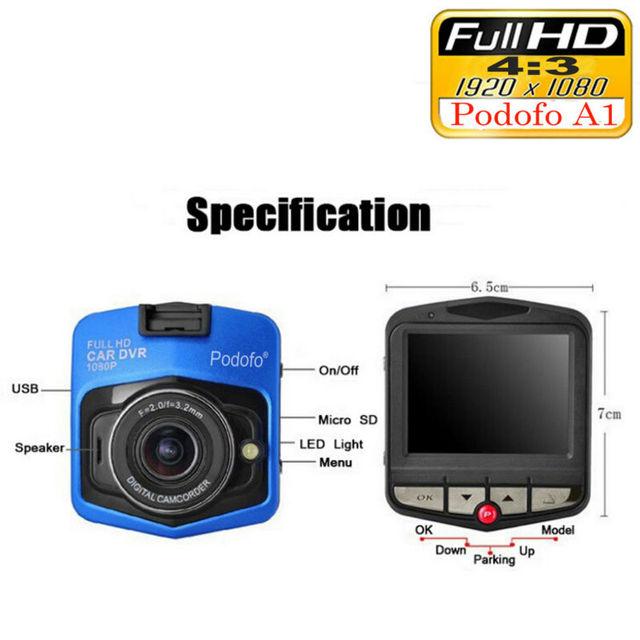 Podofo Newest Mini DVRs Car DVR GT300 Camera Camcorder 1080P Full HD Video registrator Parking Recorder Loop Recording Dash Cam 4