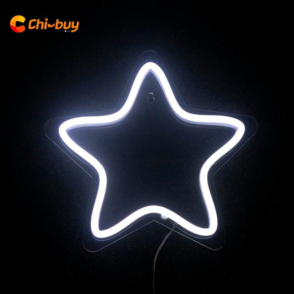 Chi-buy Pentagram LED Neon Light Sign Svatební večírek Home Wall Stars Dekor Neon Signs neonová světla na zakázku