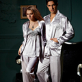 2017 Real Hot Sale Couple Pajamas Full Sleeve Sleepwear Women Men Imitation Silk Nightwear V-neck Pijamas Lover 3313 8306