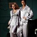 2017 Real Venta Caliente Pareja Pijamas ropa de Noche de La Manga Completa Mujeres de Los Hombres de Imitación de Seda Ropa de Dormir Con Cuello En V Pijamas Amante 3313 8306