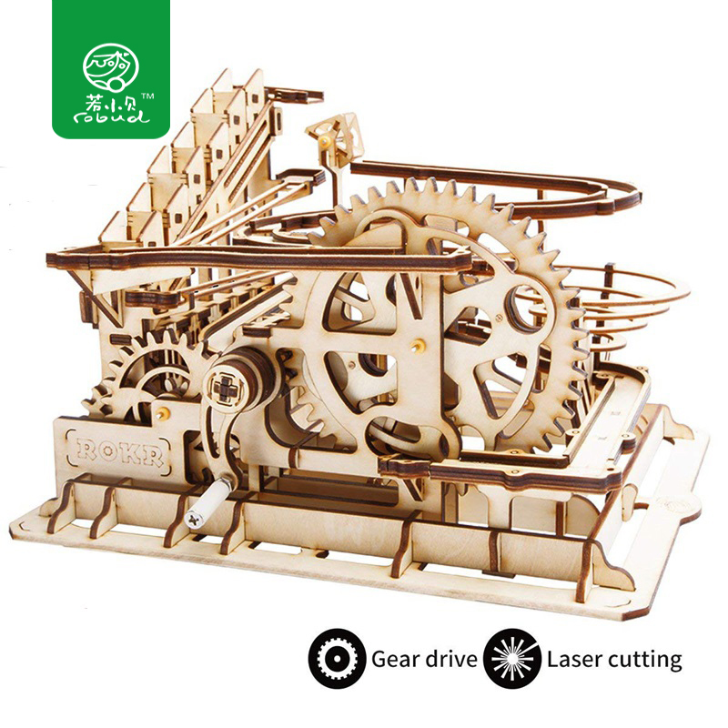 Robud DIY Waterwheel Coaster | Wooden Model Building Kits Assembly Toy | 4 Kinds Marble Run Game For Children Adult LG