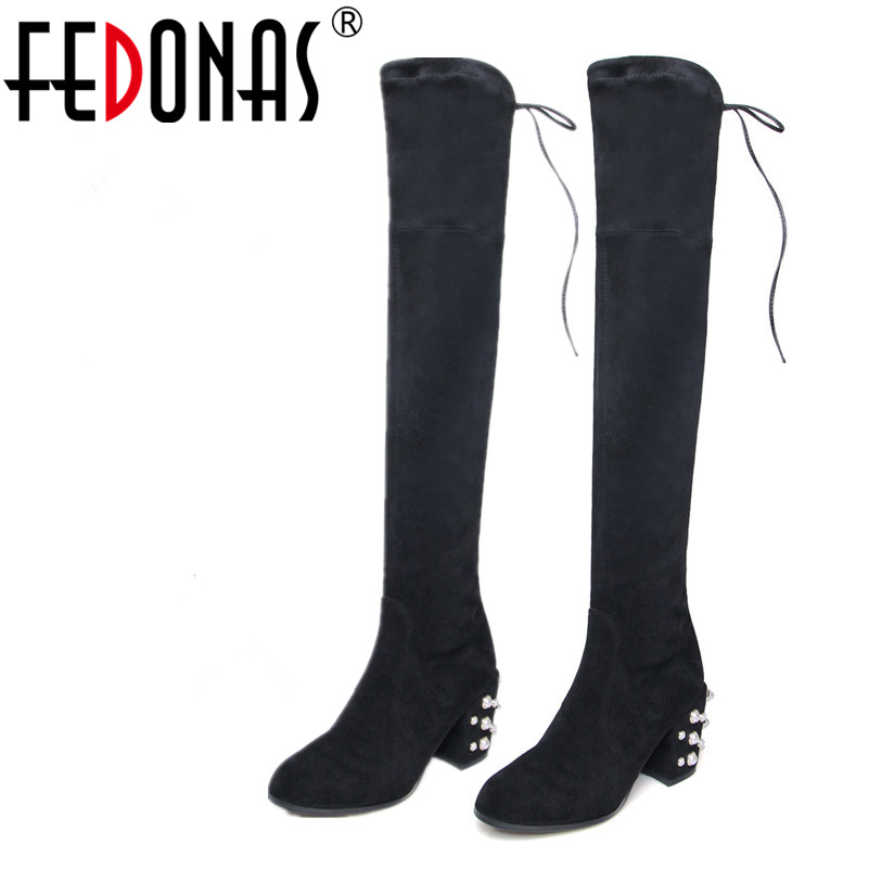 FEDONAS Suede Genuine Leather Shoes Women Boots Winter Sexy Stretch Over The Knee High Boots Slim Thigh High Heels Knight Shoes faux suede slim boots sexy over the knee high women snow boots women s fashion winter thigh high thick heels boots shoes woman